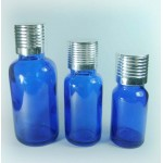 Blue Glass Bottle With Aluminum Screw Cap And Orifice Reducer