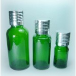 Green Glass Bottle With Aluminum Screw Cap And Orifice Reducer