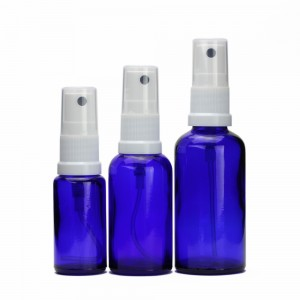 Cobalt Blue Glass Bottle With Plastic Atomizer