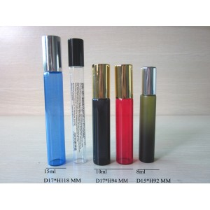 Colored perfume bottle with roller